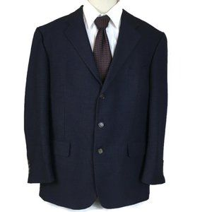 Nautica Sport Coat Navy Check Worsted Wool 46R
